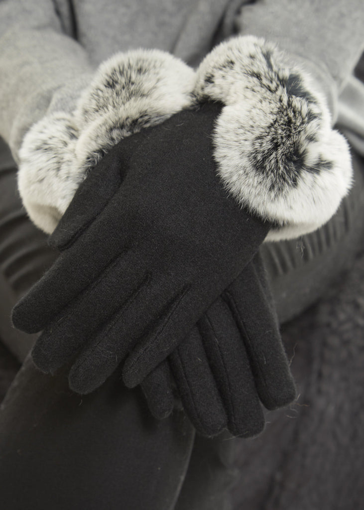 Black Gloves With V Shape Black Snowtop Rex Rabbit Fur Trim | Jessimara London