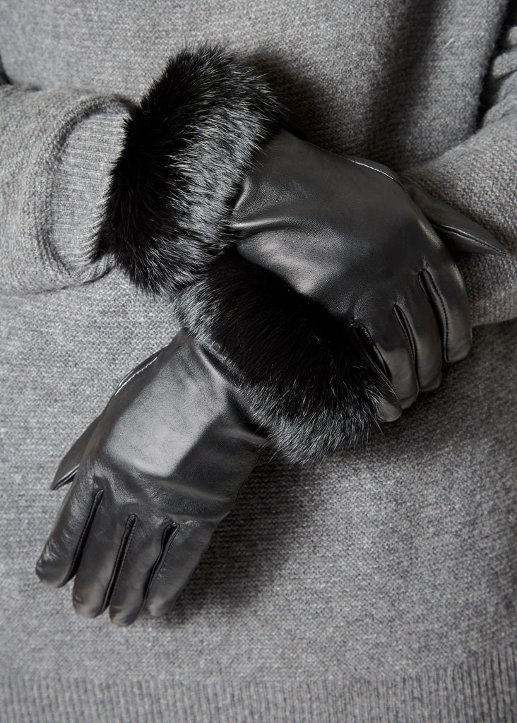 Black Leather Gloves With Rabbit Fur Trim | Jessimara London