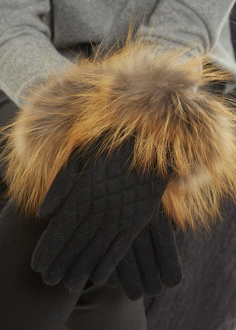 Black Quilted Gloves With Chesnut Colour Silver Fox Jessimara Fur Accessories - Jessimara