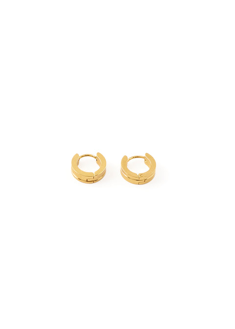 Gold Single Ridge Hoop Earrings