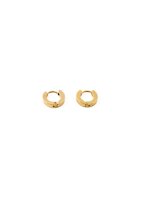 Gold Small Plate Hoop Earrings