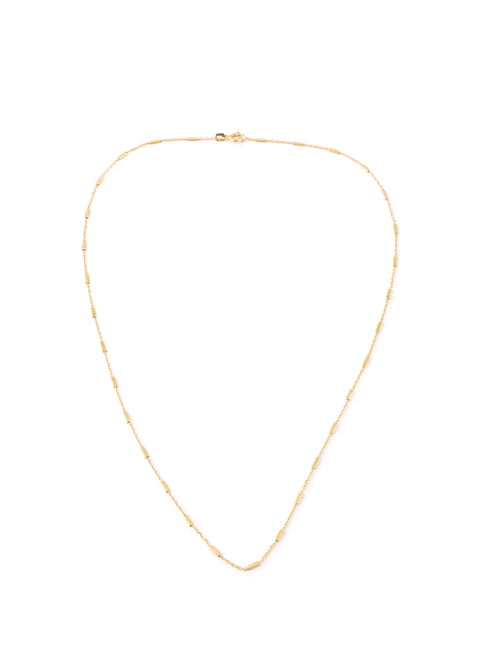 Gold Thin Rectangular Blocks Necklace