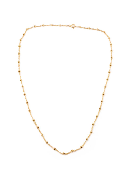 Gold Thin Twist and Ball Chain Necklace