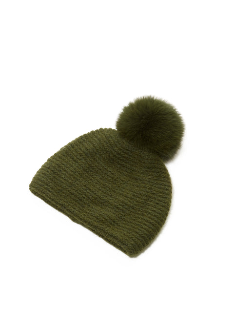 90e81f46773 Green Pom Pom Knitted Slouch Hat