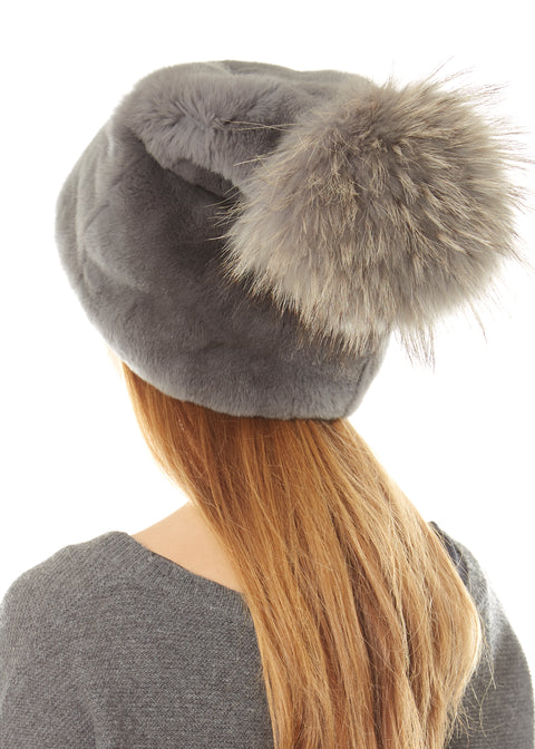 Grey Long Beanie With Rabbit Fur Pom