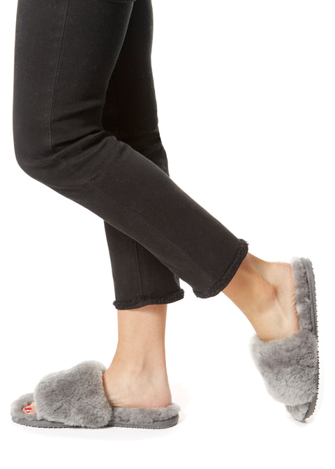 Deep Classic Grey Luxury Sheepskin Slides