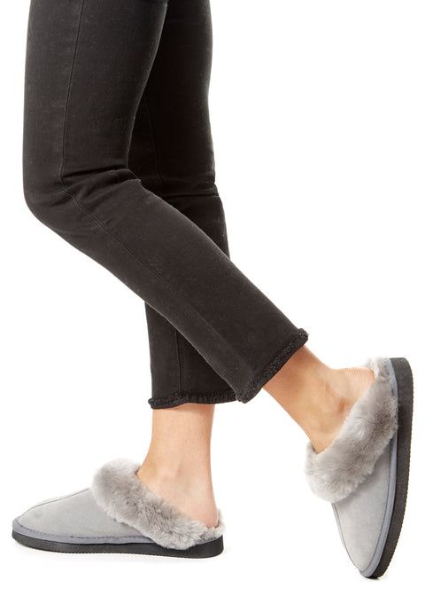 Grey Luxury Sheepskin Wedge Slippers