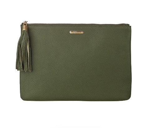 Uber Moss Pebble Clutch Bag - Jessimara
