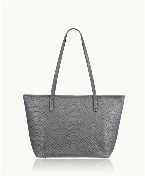 Gigi New York Slate Grey Mini Taylor Python Zipper Shopper Gigi New York - Jessimara