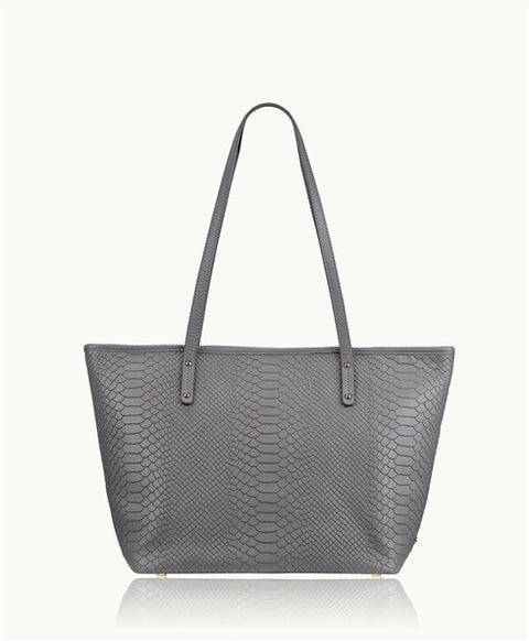 Gigi New York Slate Grey Mini Taylor Python Zipper Shopper | Jessimara London