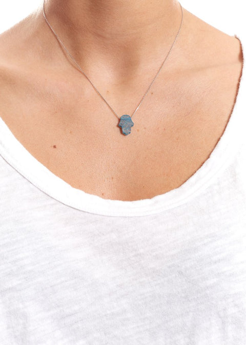 Blue Sterling Silver Necklace With Opal Hamsa