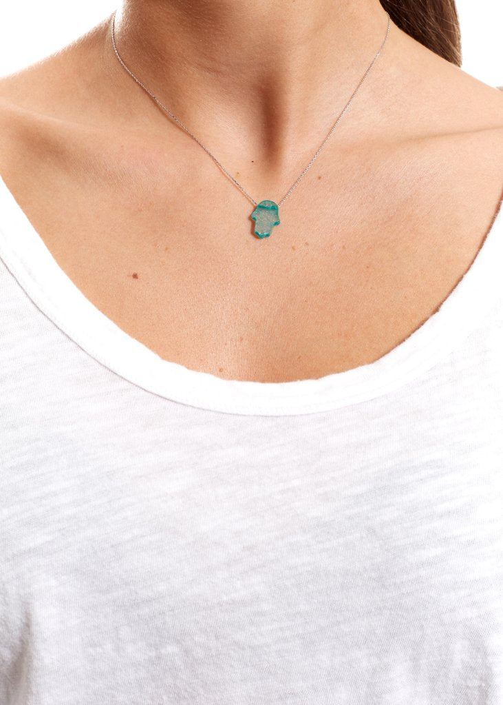 Green Sterling Silver Necklace With Opal Hamsa | Jessimara London