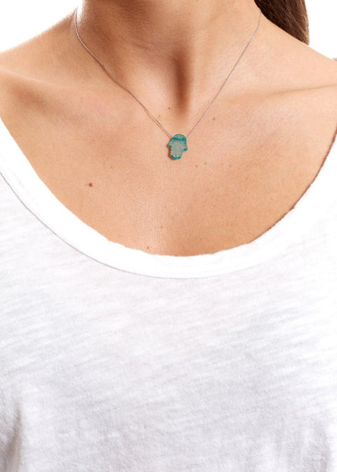 Green Sterling Silver Necklace With Opal Hamsa