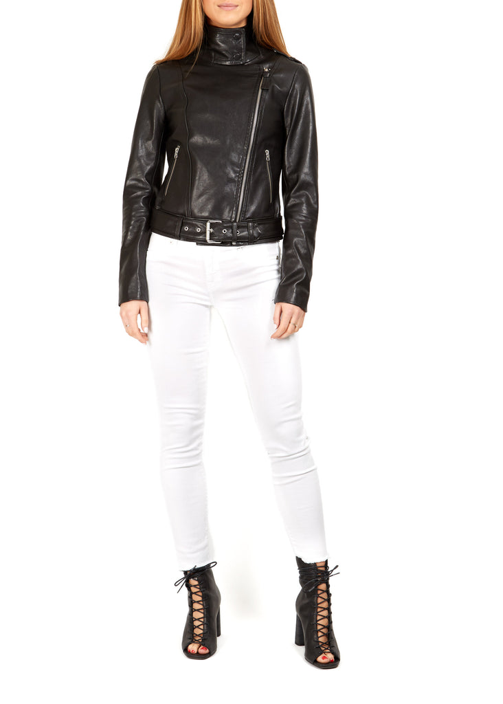 "Black ""Hania"" Leather Biker Jacket 