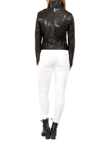 "Mackage ""Hania"" black leather biker jacket"