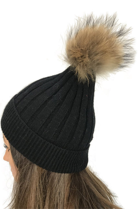 Black Knitted 'Beanie Pom Pom' Hat
