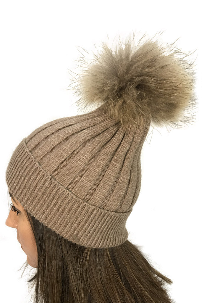 Beige 'Knit Beanie Hat' With Fur Pom