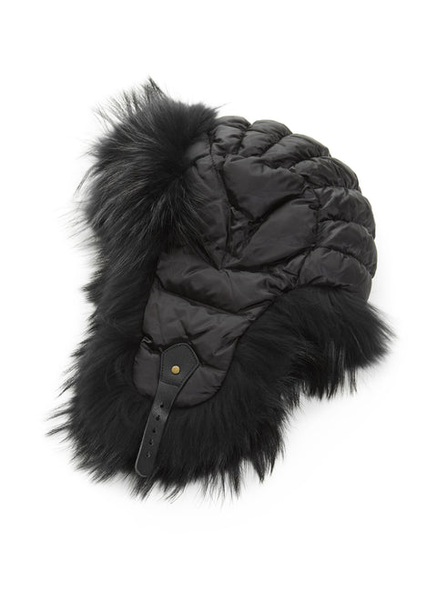 Black Aviator Hat with Black Fox Jessimara Fur - Jessimara