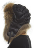 Black Aviator Hat with Chestnut Fox | Jessimara London