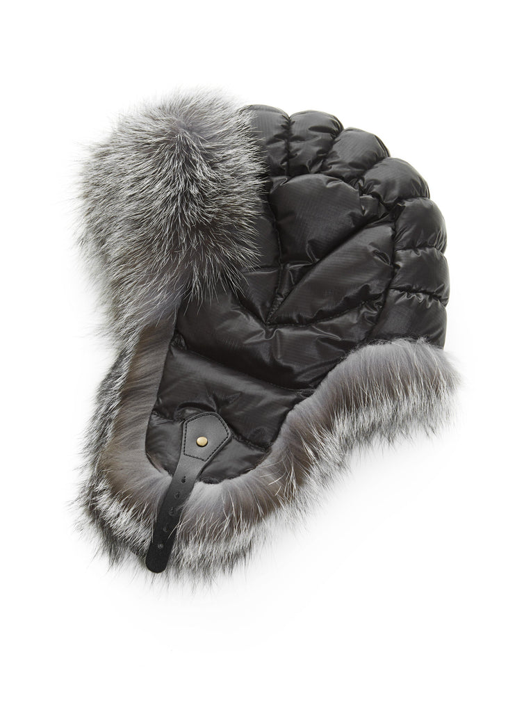 Black Aviator Hat with Silver Fox | Jessimara London