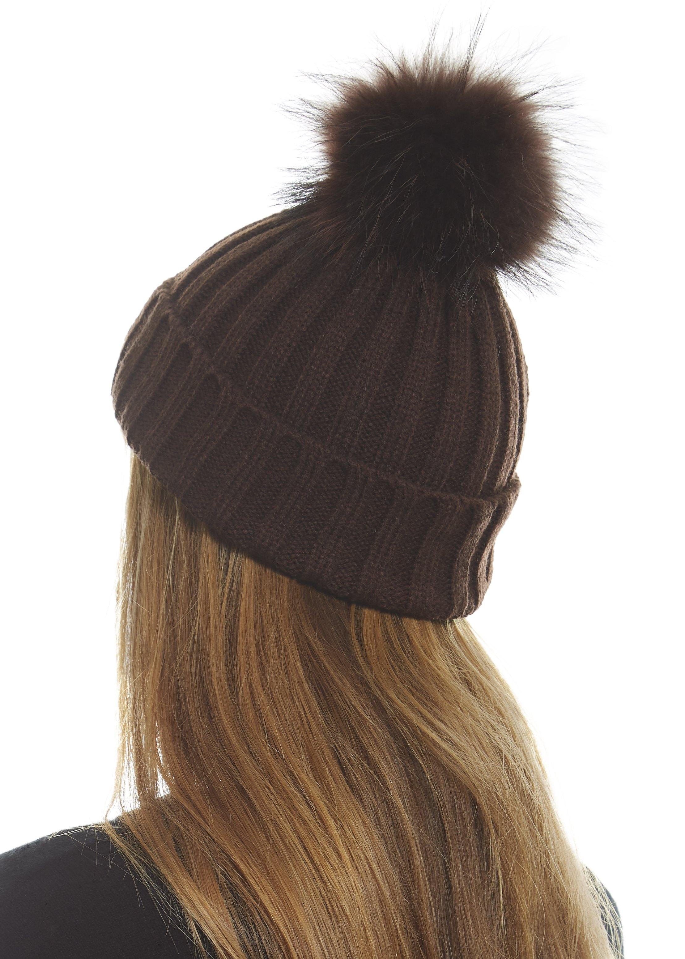 Brown On Brown Knitted Hat With Detachable Fur Pom Pom