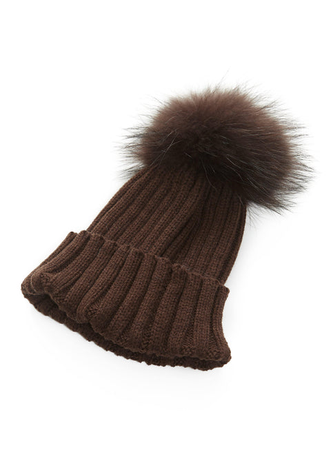 8d561b7a72c Brown On Brown Knitted Beanie With Fur Pom Pom Jessimara - Jessimara