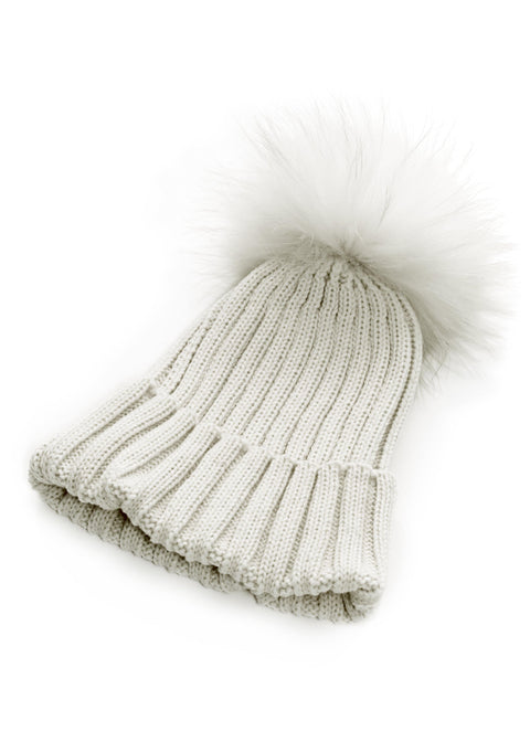 White On White Knitted Hat With Detachable Fur Pom Pom