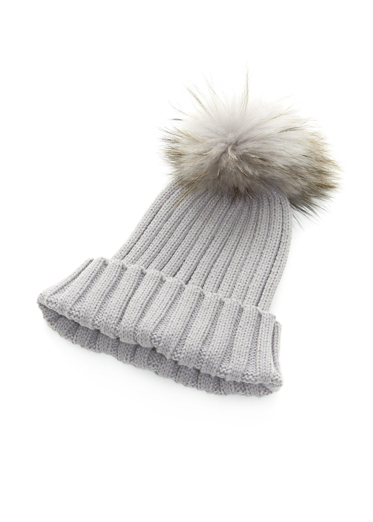 Light Grey On Light Grey Knitted Beanie With Fur Pom Pom Fur5eight - Jessimara