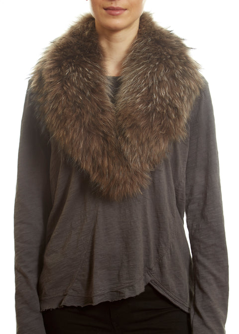 Brown Genuine Fox Fur Collar