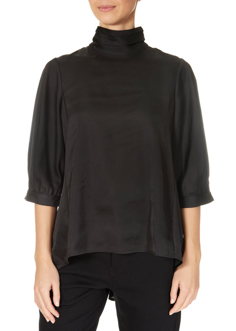 'Meet Up' Black High Neck Blouse