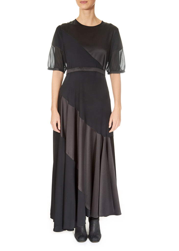 'Surpass' Black Satin Long Dress