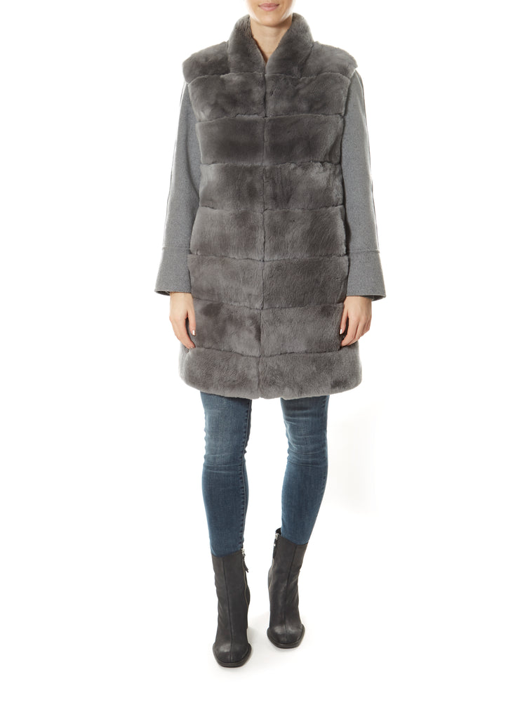 Two Piece Silver/Grey Real Rex Rabbit Gilet and Jacket | Jessimara London
