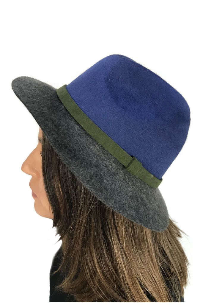 Royal Blue Multi 'Winter Trilby Hat'