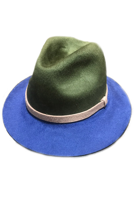 Khaki Green and Blue Trilby Hat