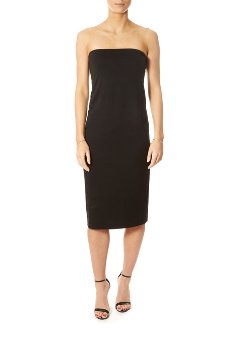 'Ikis' Strapless Black Jersey Dress | Jessimara London