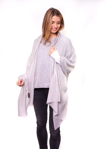 Pale Silver Grey Full Cashmere Scarf