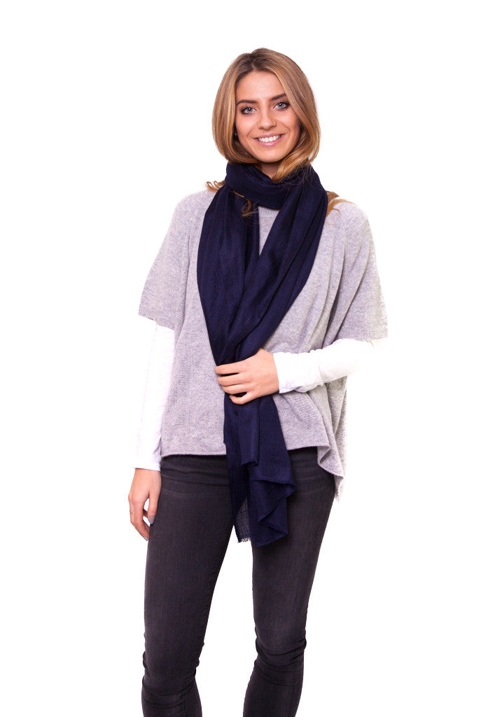 Navy Full Cashmere Scarf | Jessimara London