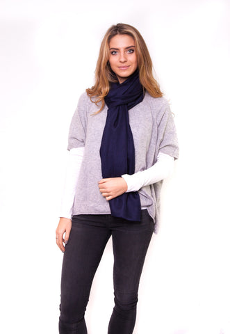 Navy Full Cashmere Scarf