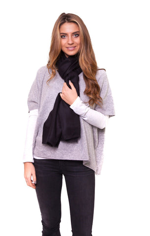 Black Full Cashmere Scarf