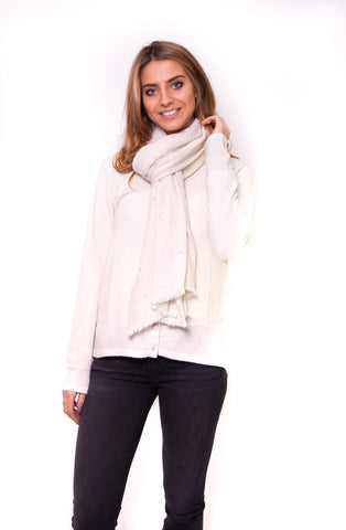 White and Cream Scarf with Stones Cashmere Scarf