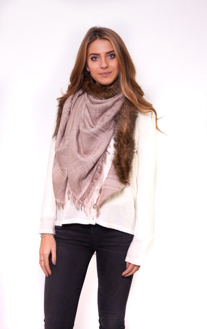 Jessimara Pink V- Neck Printed Scarf With Fur Trim