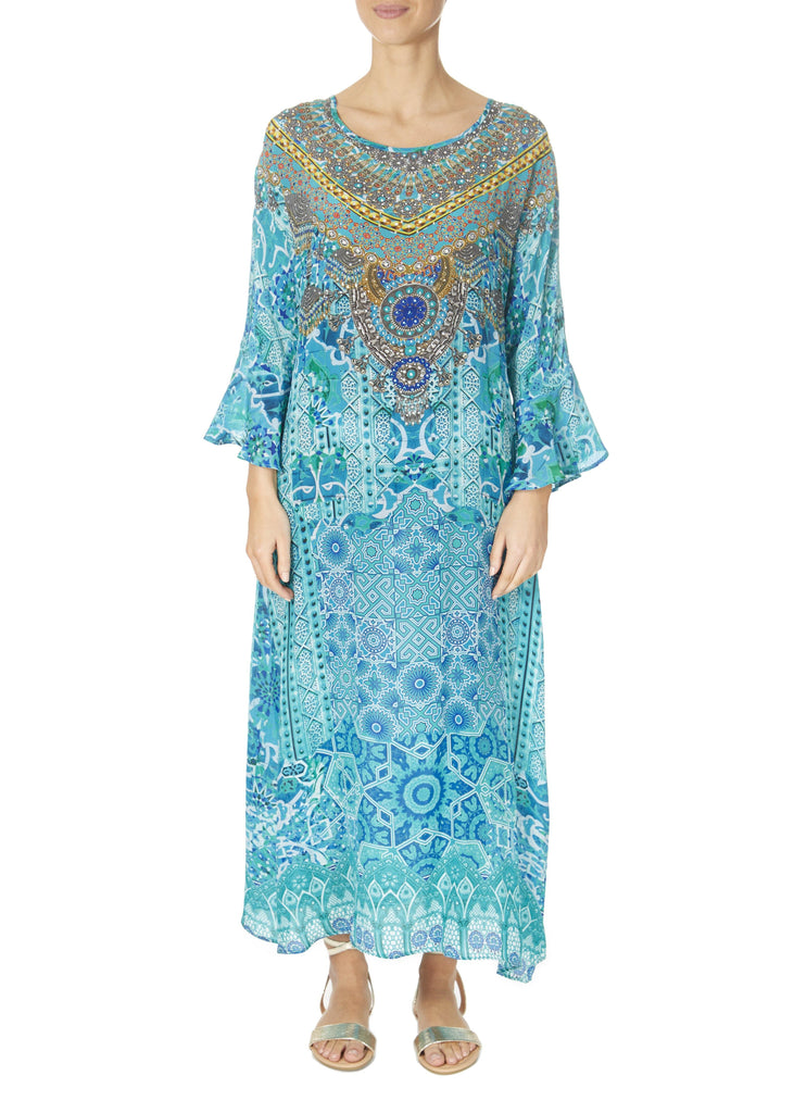 'Atlantis' Long Sleeve Turquoise Print Kaftan Dress | Jessimara London