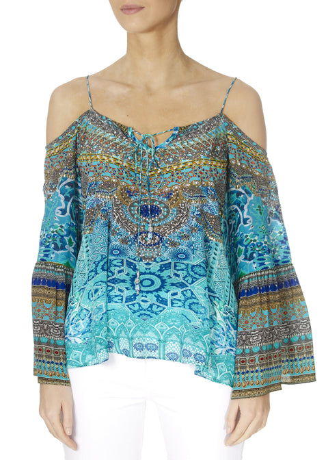 'Atlantis' Embellished Turquoise Gypsy Top