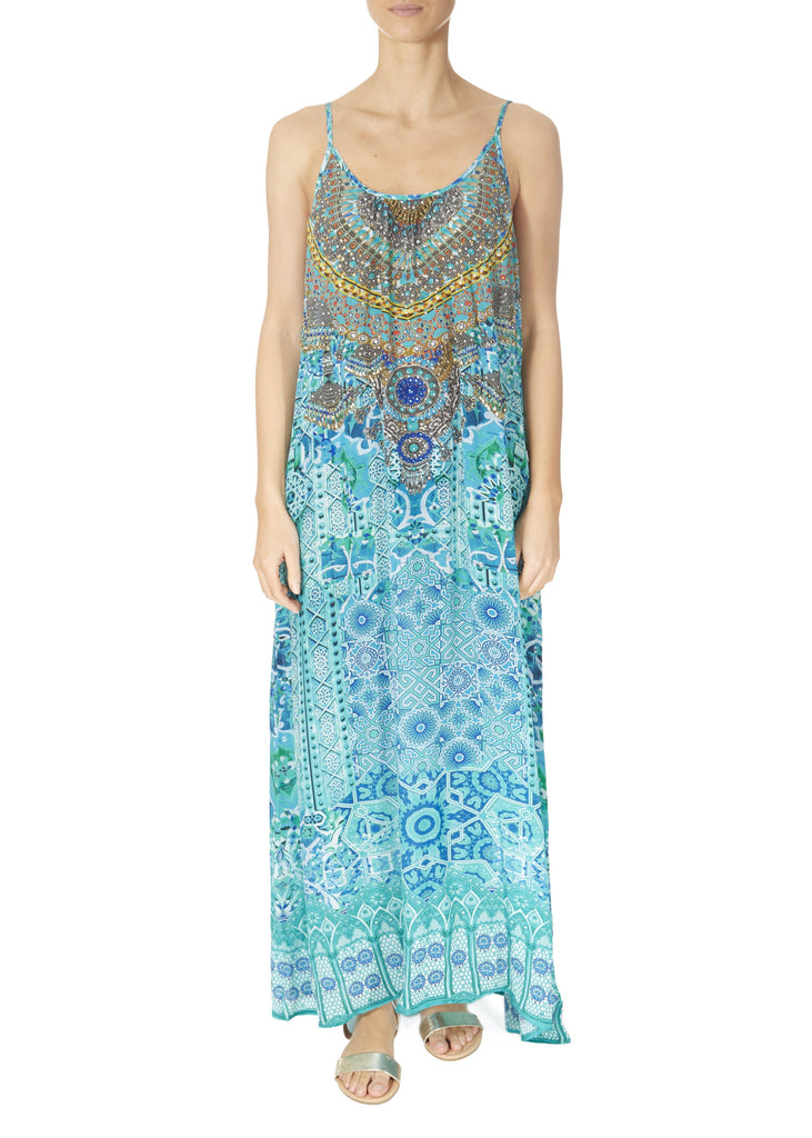 'Atlantis' Strappy Turquoise Print Maxi Dress | Jessimara London