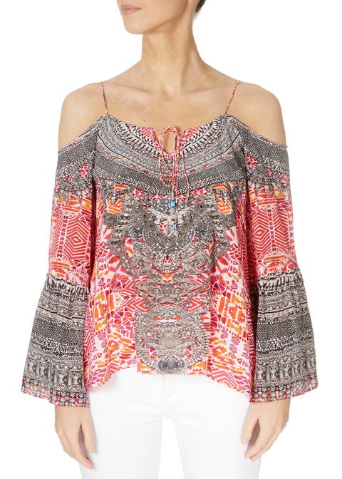 'Shiraz' Embellished Should Cut-Out Gypsy Top | Jessimara London