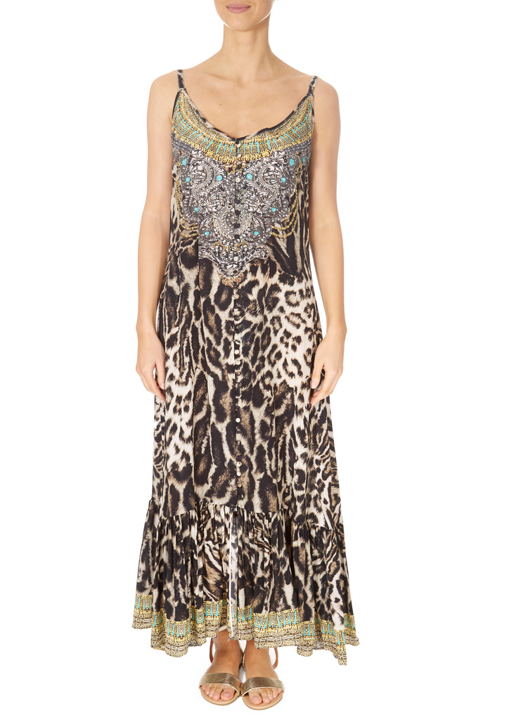 'Siberia' Strappy Leopard Print Maxi Dress | Jessimara London