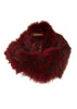Burgundy Knitted Fox Fur Double Snood