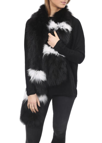 Fur 5 Eight Black/White Striped Knitted Fox Fur Scarf