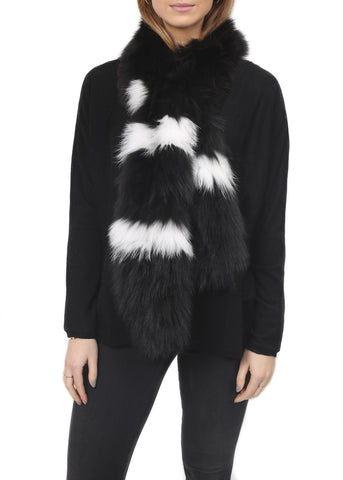 Fur 5 Eight Baseball Striped Knitted Fox Fur Scarf
