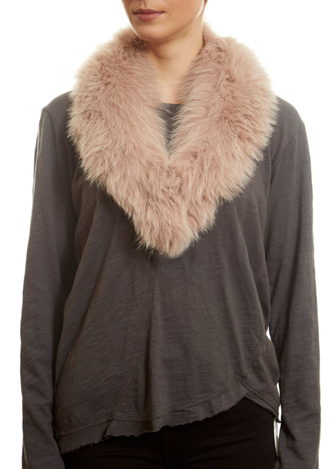 Pink Genuine Fox Fur Collar